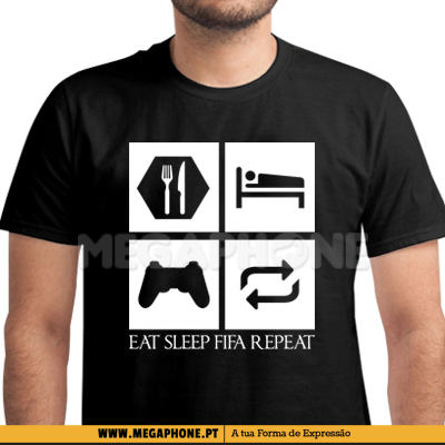 Eat Sleep Fifa repeat shirt