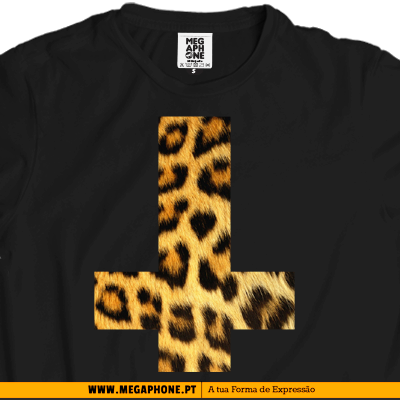 Cruz invertida leopardo camisola