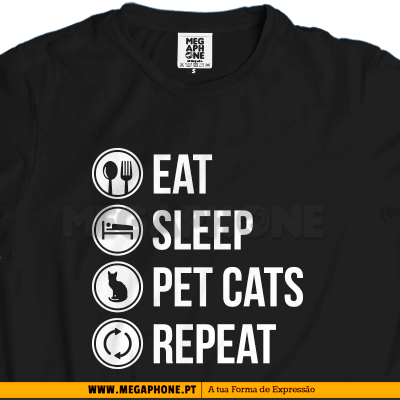 Eat Sleep Pet cats shirt gato