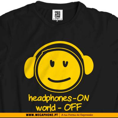 Headphones on off tshirt