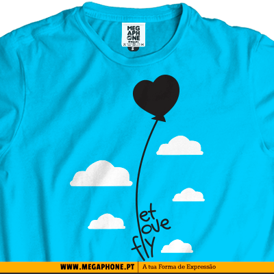 Let love fly t-shirt megaphone