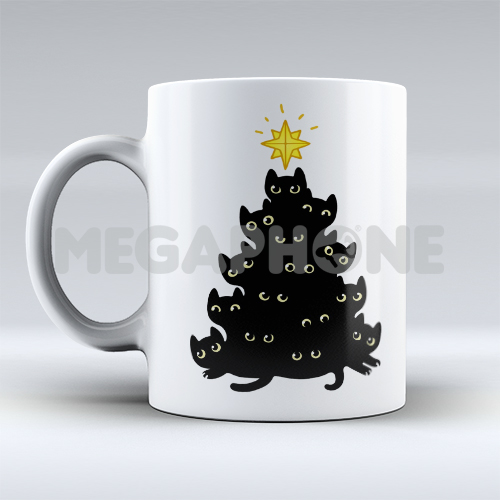 Black cats christmas mug