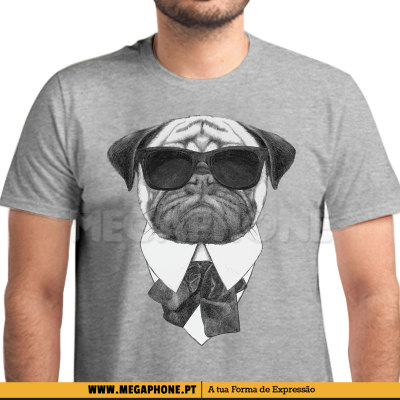 Pug in Black shirt