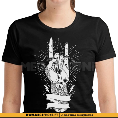 Rock on tattoos hands shirt