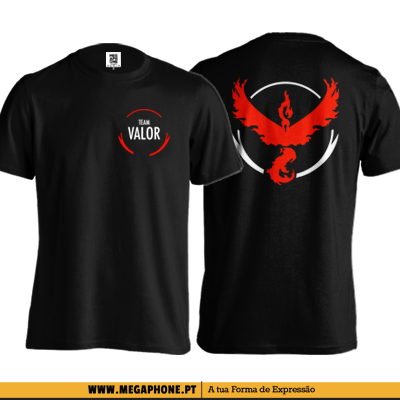 Tshirt Valor PEITO E COSTA SHIRT TEAM POKEMON GO shirt