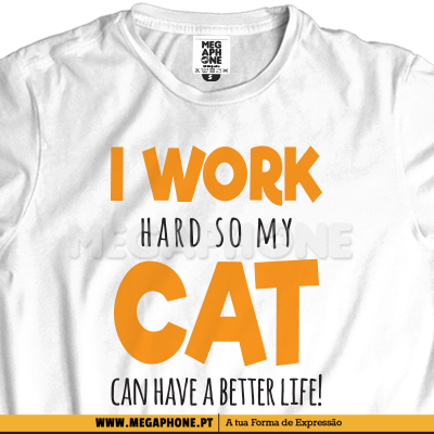 I work hard cat shirt gato